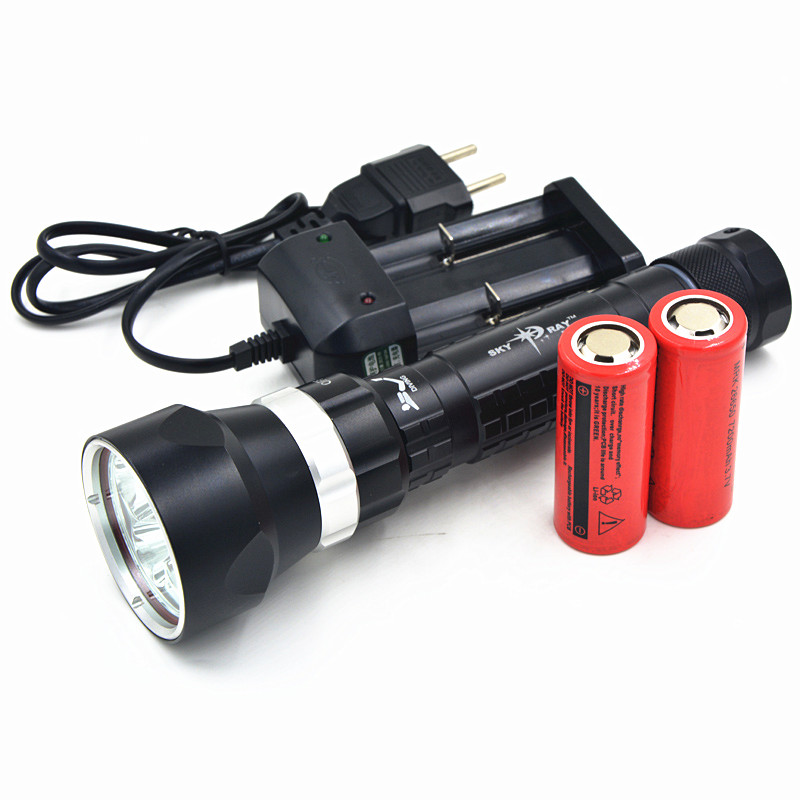 8000 Lumens Scuba Diving 5x CREE L2 LED Flashlight Torch Underwater Light 2*26650 + Charger 100m underwater diving flashlight led scuba flashlights light torch diver cree xm l2 use 18650 or 26650 rechargeable batteries