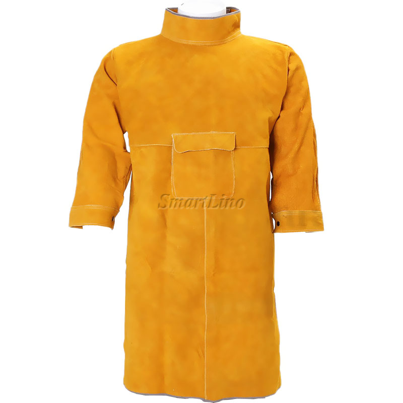 Cow Split Leather Welding Protective Clothing Apparel Welder Safety Jacket Durability Heat And Fire Resistant Safety Clothing