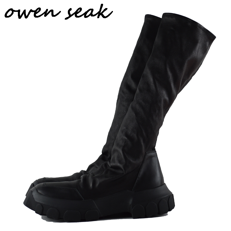 Owen Seak Men Shoes Knee High Boots Sheepskin Leather Luxury Trainers Winter Boots Casual Flats Shoes