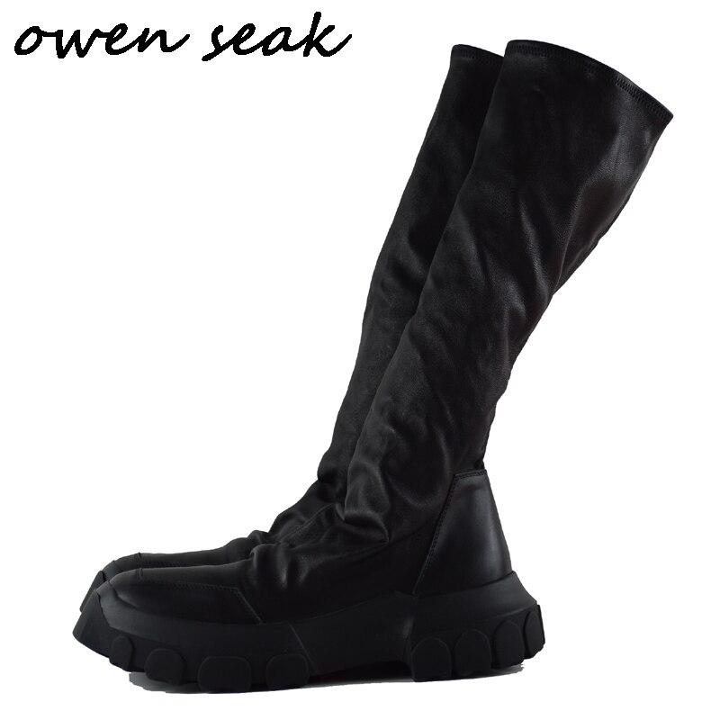 Owen Seak Mannen Schoenen Knie Hoge Laarzen Schapenvacht Lederen Luxe Trainers Winter Laarzen Casual Flats Schoenen Zwart Grote Sneakers op  Groep 1