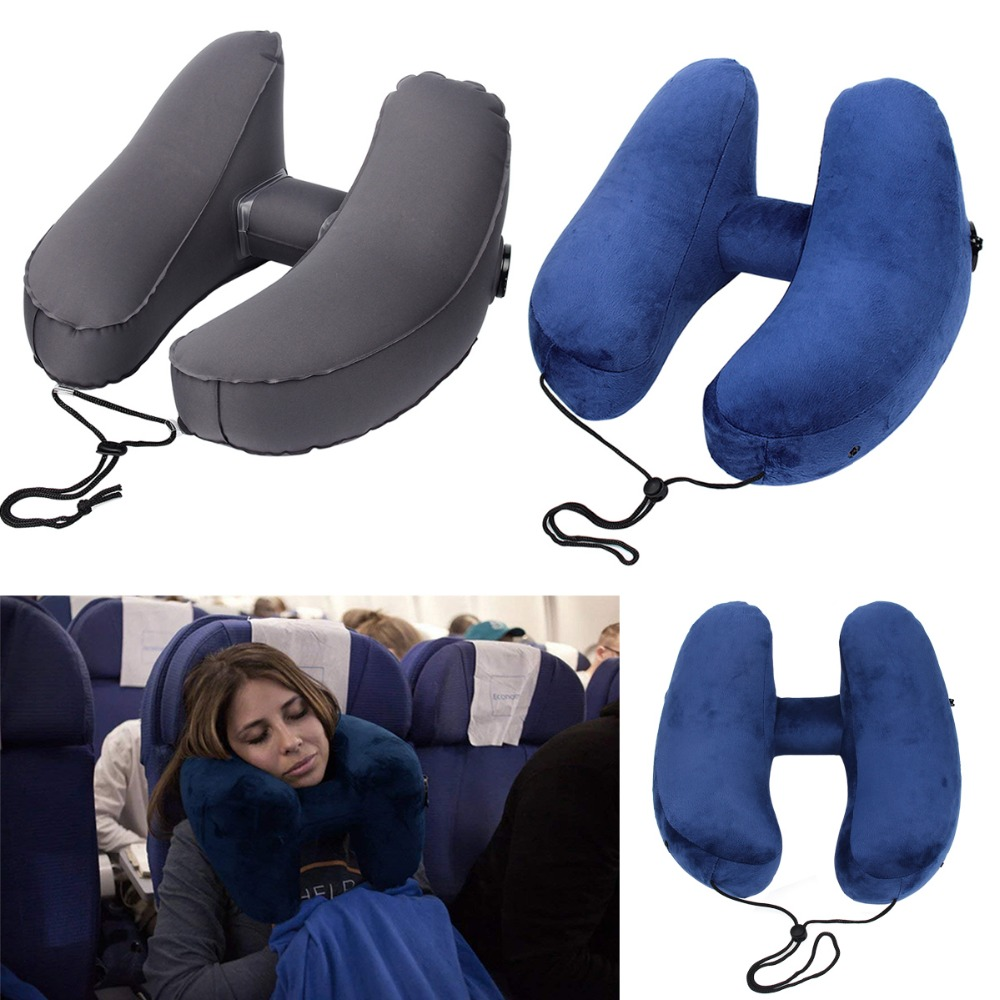 Inflatable H Shaped Travel Pillow Neck Car Head Rest Air Cushion for Travel Office Nap Head Rest Air Cushion Neck Pillow in Travel Pillows from Home Garden