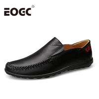 Plus Size 47 Genuine Leather Men Loafers Fashion Handmade Casual Shoes Soft Cow Leather Men Flats