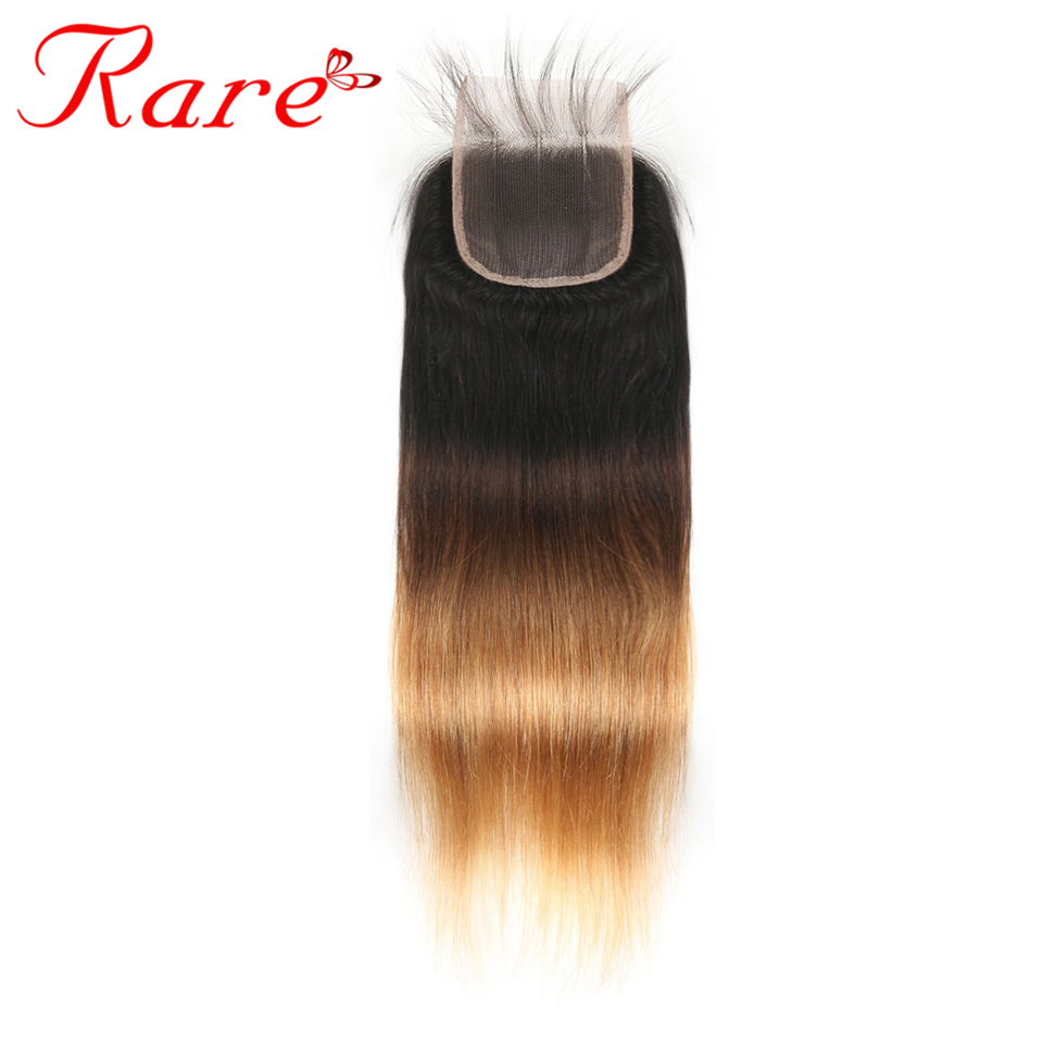 Ombre Brazilian Straight Hair 4*4 Lace Closure 8-22 Inches Free/Three/Middle Part #1B/4/27 Rare Hair 100% Human Non Remy Hair