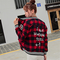 hot sell 3 color letter printed cardigan plaid bomber jacket women 2016 autumn Harajuku long sleeve baseball jacket woman bolero
