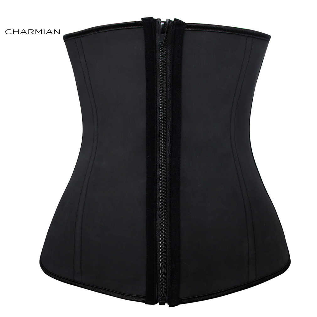a858ce0587d Charmian Women s Plus Size 4 Steel Bones Zipper Latex Hourglass Waist  Trainer Corset Underbust Body Shapewear