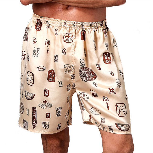 Loose Silk Men Sleepwear Bottom Boxers Pajama Floral Print Elastic Waist Homewear Underwear Casual Beach Shorts Male
