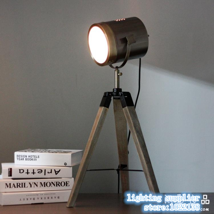 RETRO Royal Air Force Wood tripod Table Search Light Lantern,Silver and brown color E14 vintage table lamp desk lighting fixture