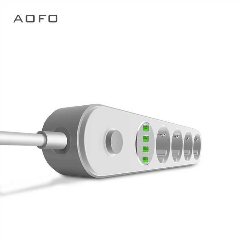 Tira de alimentación de 4 enchufes, enchufe múltiple AOFO con función de interruptor, para teléfonos inteligentes y tablets, en casa y en la oficina