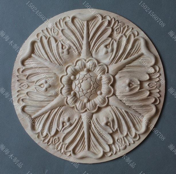 Diâmetro: 20 cm Europeu Porta De Madeira Esculpida Flor Decoração Gabinete Rodada Acessórios de Cama