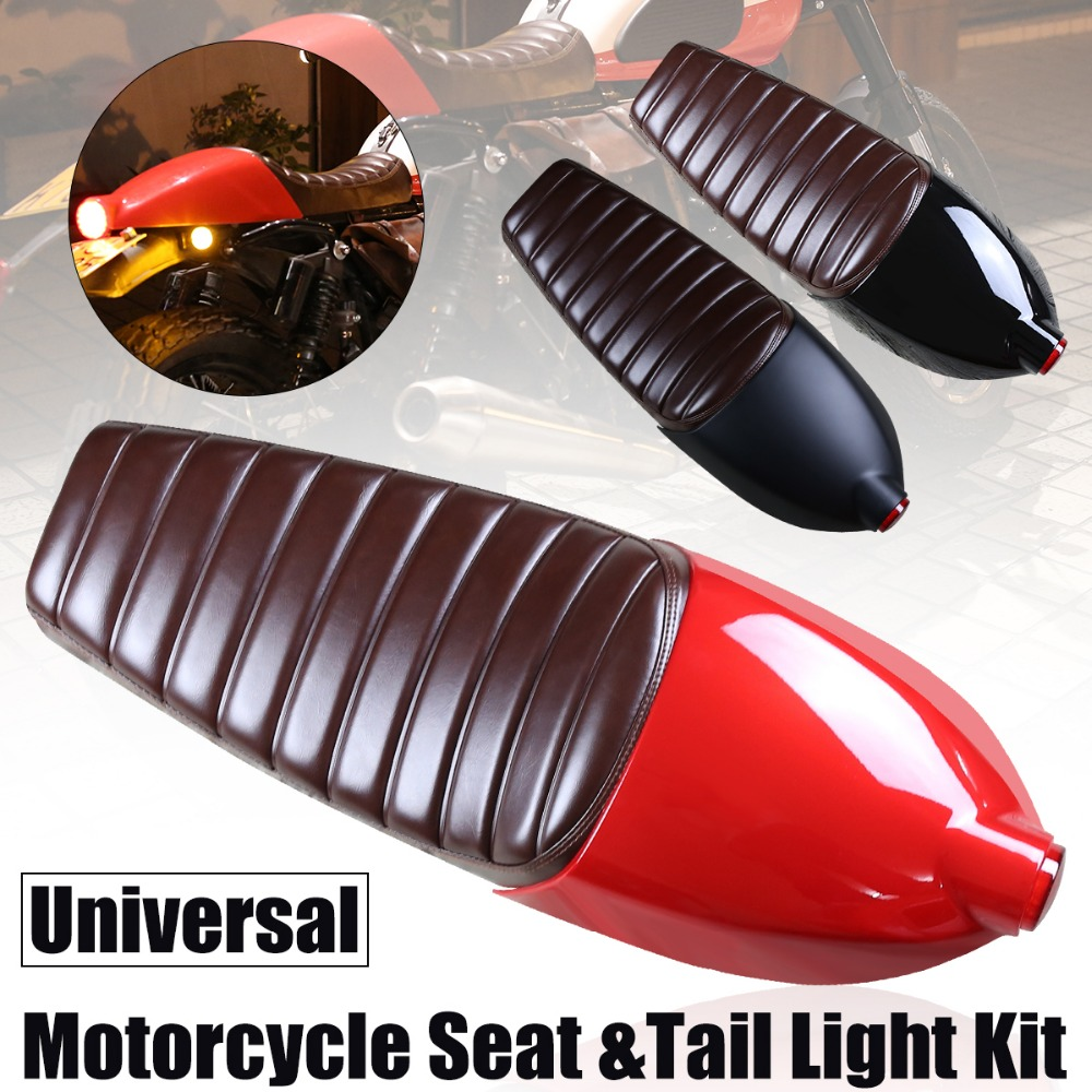 Universal Lamp Tail Light Lampshade Vintage Hump Cafe Racer Refit Motorcycle Cushion Seat Cover Frame Hoop Loop & LED Strip Set 32016 hot cafe racer flat seat retro vintage locomotive refit motorcycle leather black a cover high quality waterproof