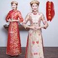 Kimono muestran ropa pratensis estilo chino vestido de noche formal de la novia vestido de dragón oriental cheongsam de seda delgado de la vendimia