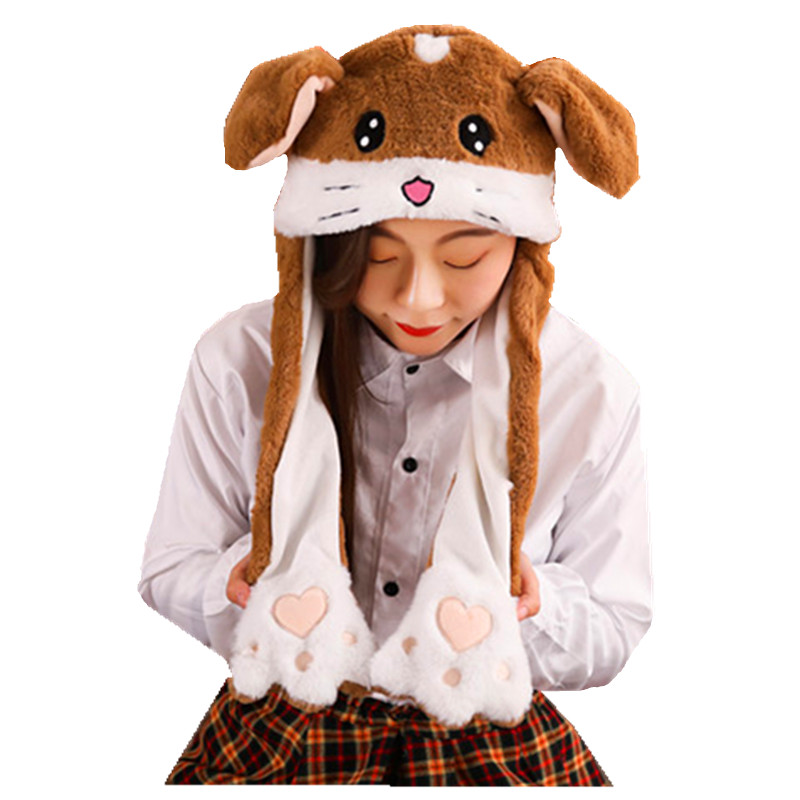Moved Brown Vole white Cartoon Animal Plush Dynamic Hat Children's Winter Warm Cap Combined Scarf and Glove