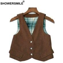 SHOWERSMILE Vintage ropa chaleco mujeres chaleco marrón Chaquetas cortas mujer  verano otoño Slim Inglaterra estilo sin mangas ch. 92b146018dc6
