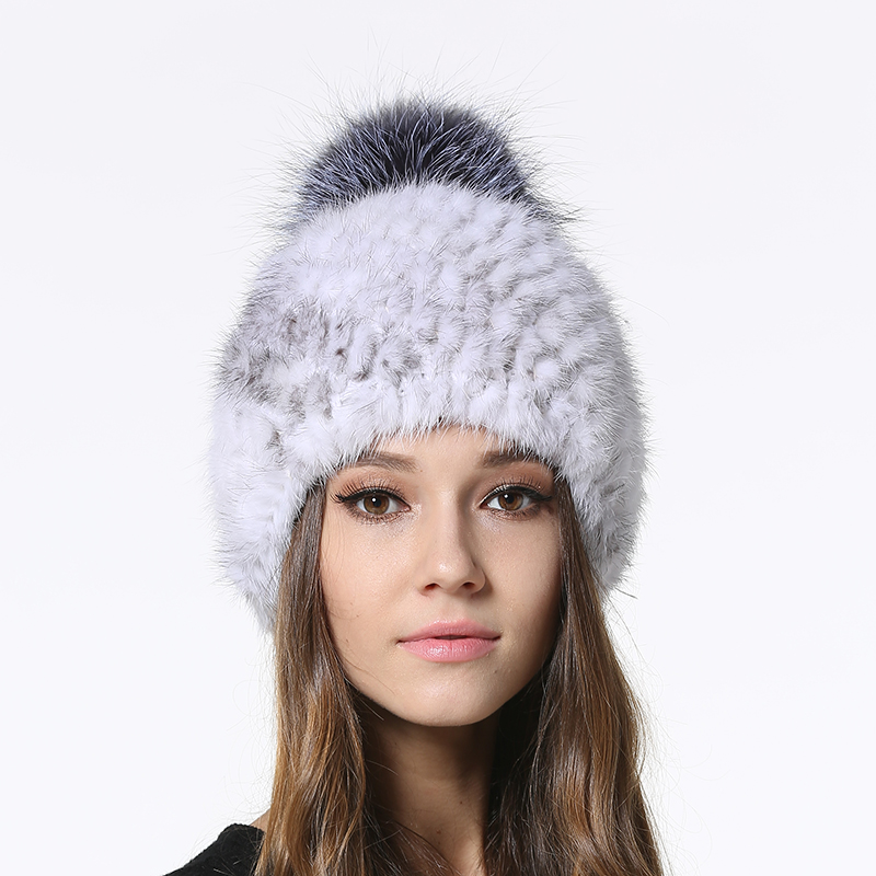 IANLAN Winter Striped Mink Fur Hats Beanies for Women Real Silver Fox Ball Caps Ladies Pompom IL00046