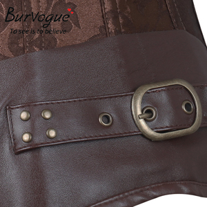 Image 5 - Burvogue Waist Control Steampunk Corsets and Bustiers Leather Corsets Sexy Women Gothic Underbust Corselet Steel Boned Corsets