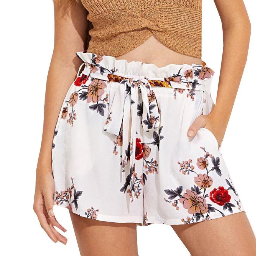 Trousers Women Print Casual Belt Loose Hot Pants Lady Summer Beach Trousers Pantalon Femme