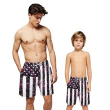 Men Beach Boxer Shorts Flag Printed / Colorful Striped Loose Drawstring Casual Short Pants Beachwear Adult Children Short все цены