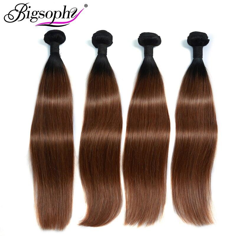 Bigsophy Peruvian Hair Bundles Straight Human Hair 4 Bundles Remy Hair Extension Ombre Color 2 Tone 1B/30 Can Buy 3/4 Bundles
