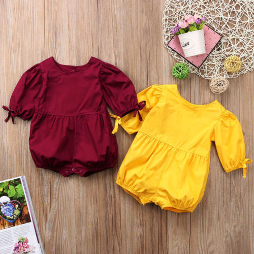 Newborn Baby Girls Cotton Bowknot Long Sleeve Cotton Romper Clothing Kids One-Piece Jumpsuit Playsuit Clothes Outfits Jumper NEW