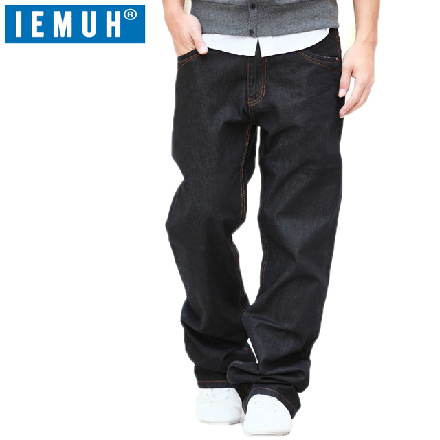 8c535ce7785 IEMUH Plus Size Jeans Man Denim Jeans Casual Middle Waist Loose Long Pants  Male Solid Straight Jeans For Men Classical 28-48