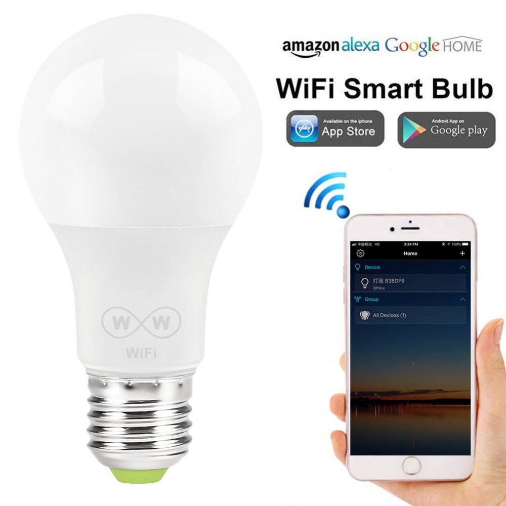 New E27 WiFi Smart LED Light Bulbs Intellegent App Remote Control Bulbs Walk-up Warn Lighting Work With Alexa Google Assistant