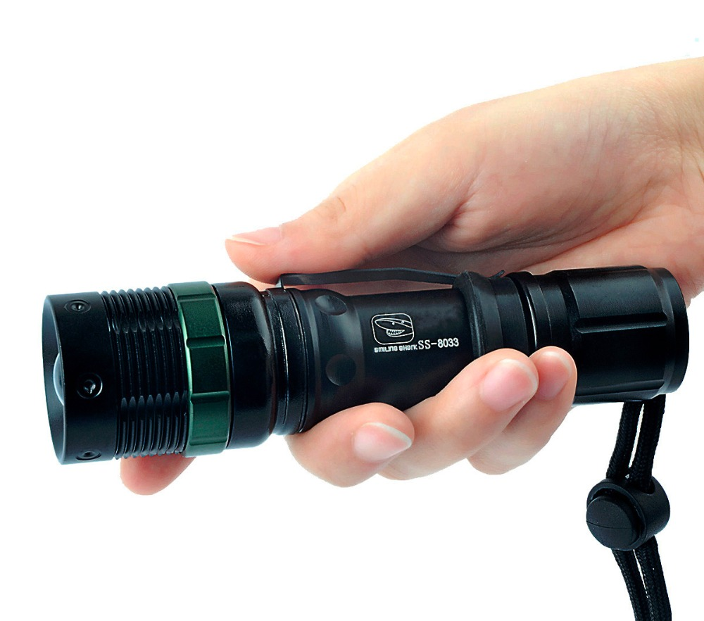 Brightest 500 Lumens Flashlight CREE Q5 LED Adjustable Focus Zoomable with Water Resistant, Suitable for Outdoor Sport