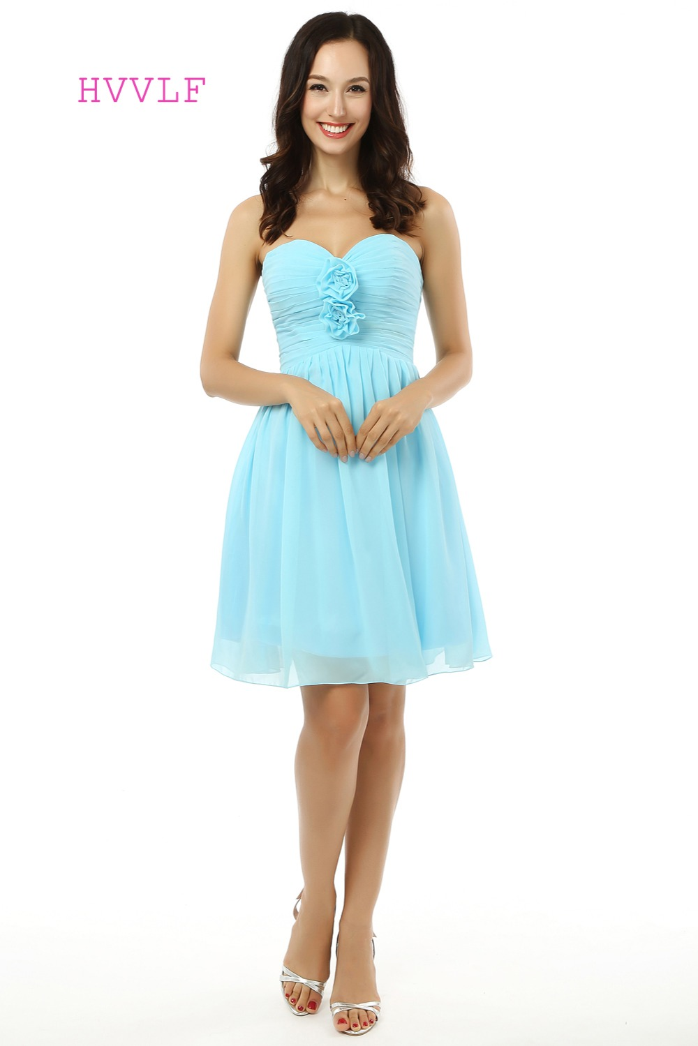 HVVLF 2017 Cheap Bridesmaid Dresses Under 50 A-line Sweetheart Short Mini Chiffon Turquoise Wedding Party Dresses