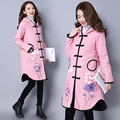 Ethnic Down Coats Women Linen Coats Hooded Pink Down Jackets Hoody Ethnic Parka Jackets Women Clothing Winter Overcoat
