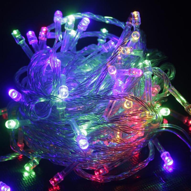 Гирлянды светодиодные 10 м Водонепроницаемый 110 В/220 В 100 LED праздник строки Освещение 9 Цвета Рождество огни партия открытый украшения