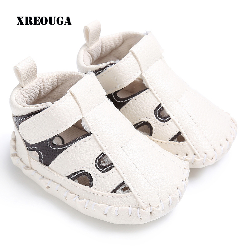 Toddler White Sandals | New Summer Baby Anti Slip Patch Hollow Sandals Boy White Toddler Sew PU Cotton Shoes Outdoor Infant Hole Cute Footwear HYS57