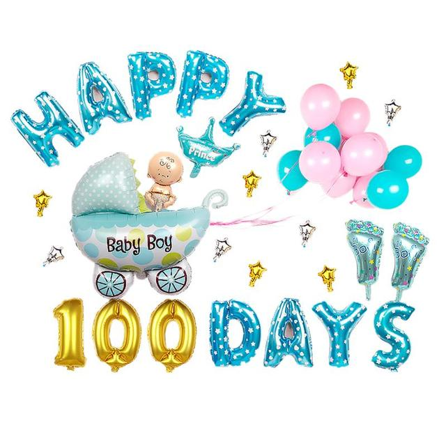 FunPa Foil Balloon Set Baby Boy Girl Happy 100 Days Decorative Balloons Party For