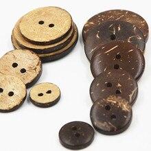 20 шт 2/4 отверстия 9 мм-20 мм круглые кокосовые раковины кнопки для Аксессуары для шитья одежды поделки своими руками и Скрапбукинг Декор деревянная кнопка