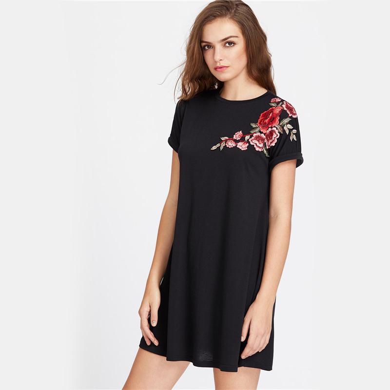 HTB1F90DRXXXXXb0XXXXq6xXFXXX4 - Embroidered Dress Women Flower Patch Roll Cuff Swing PTC 193