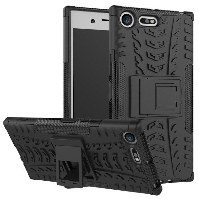 competitive price bff33 1c691 US $5.61 15% OFF For Coque cover Sony Xperia XZ Premium Armor Silicone Case  TPU PC Hybrid Stand Back Cover For Xperia XZ Premium Phone Cases-in ...