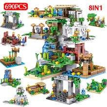 690 шт. мой мир Висячие садовые строительные блоки Миниатюрные Дерево дом Рисунок 8 в 1 Кирпичи Детские игрушки Рождество