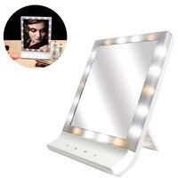 Ledメイク化粧鏡複数照明大画面壁マウントミラー付き18 ledライトhs11