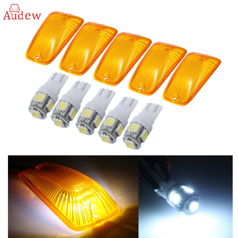 5Pcs T10 5050 Dome Index Car LED Lamp Bulbs Wedge White Light Roof Marker Amber Cover Lenses For Chevrolet/GMC