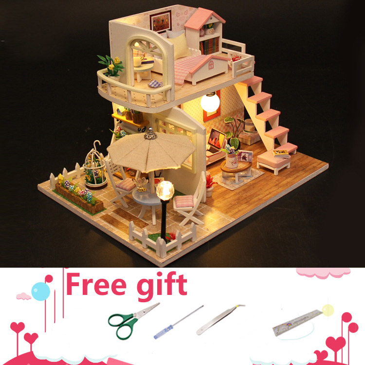 Doll Houses Original 3d Diy Pink Loft Duplex Building Miniature Sofa Garden Afternoon Led Dollhouse Match Sylvanian Families Gift For Girl Toys & Hobbies
