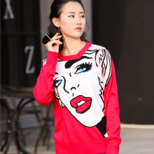In Early Spring 2019 Europe Station New Knitted Long Sleeve Beauty Red Lip Head Print Pattern Base Shirt Women