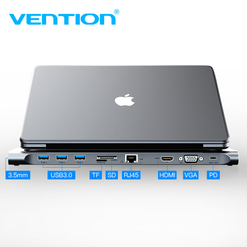 Vention All in 1 USB C to HDMI VGA Converter USB 3 0 HUB SD TF