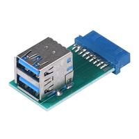 2017 Universal Motherboard 19 Pin Header To 2 Ports USB 3.0 Type A Female Port HUB Adapter PC Computer Computer Cables & Connectors