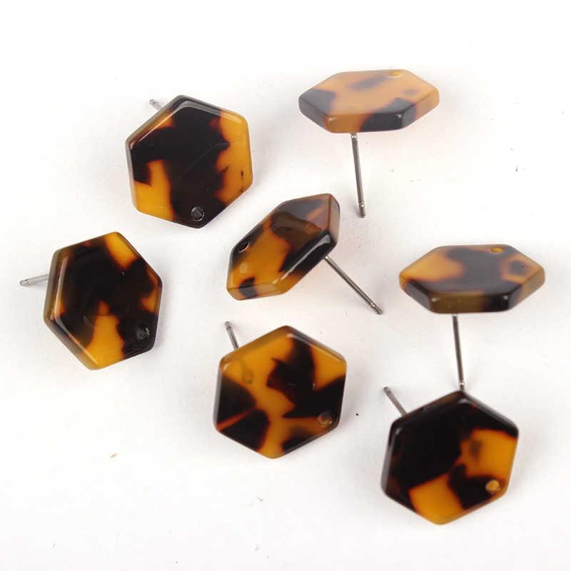 2627858faf ... 6pcs lot 16mm Resin Tortoiseshell Hexagon Base Earrings Pendant  Connectors For DIY Earrings Jewelry Making