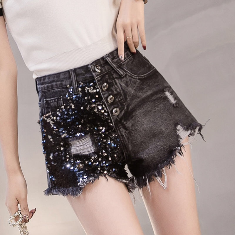 Summer Fashion Womens Lady High Waisted Glitters Ripped Hole Black Denim Shorts , 2019 New Woman Wide Leg Sequins Jeans Shorts