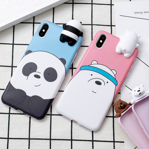 3D Cute Cartoon We Bare Bears brothers funny toys soft phone case for iphone 5 5s 6 6s 7 8 plus 10 X XR XS MAX cover cases coque Lahore