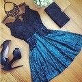2017 mujeres sexy de encaje hueco perspectiva estilo dress verano vestidos o-cuello casual vestidos fashion dress