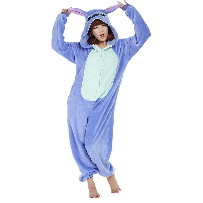 만화 애니메이션 유니섹스 성인 Flano Cosplay Costume Blue Stitch Onesie Pajama For Halloween 카니발 성인 파티 (No Slipper)