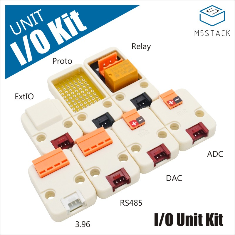 M5Stack New IO Unit Kit Including 7 Sensor I/O Mini Proto Relay 3.96 RS485 DAC ADC I2C GPIO Grove IoT Demoboard for M5 ESP32 KitM5Stack New IO Unit Kit Including 7 Sensor I/O Mini Proto Relay 3.96 RS485 DAC ADC I2C GPIO Grove IoT Demoboard for M5 ESP32 Kit