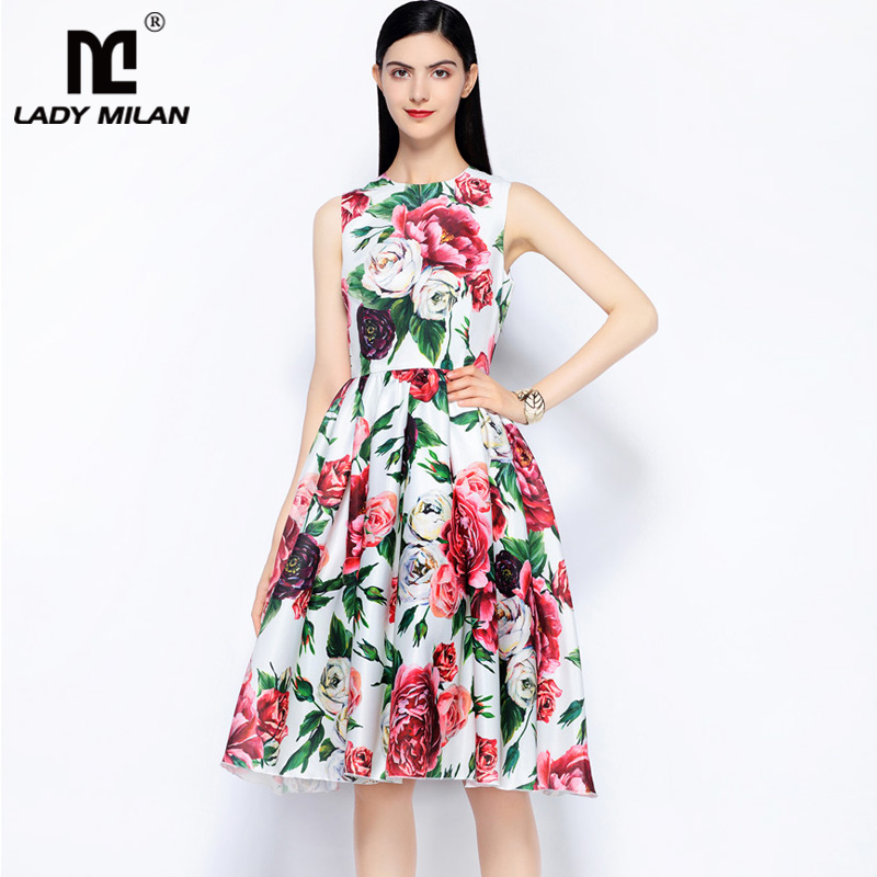 Laid Milan Womens O Neck Sleeveless Floral Printed Ruched High Street Fashion Casual Dresses