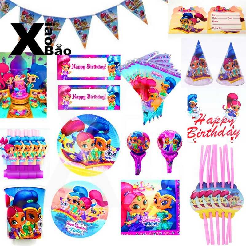 Miroiter et briller princesse papier vaisselle assiette tasse bannière serviette Invitation nappe ballon sac faveur fête anniversaire cadeau