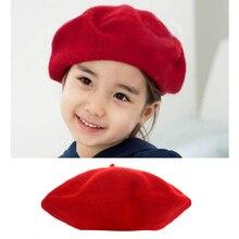 """Зимняя кофта для девочек Шапки шляпа """"Бейли"""" Купол однотонная Милая Детская шерстяная одежда береты шапки бини шапки#815"""